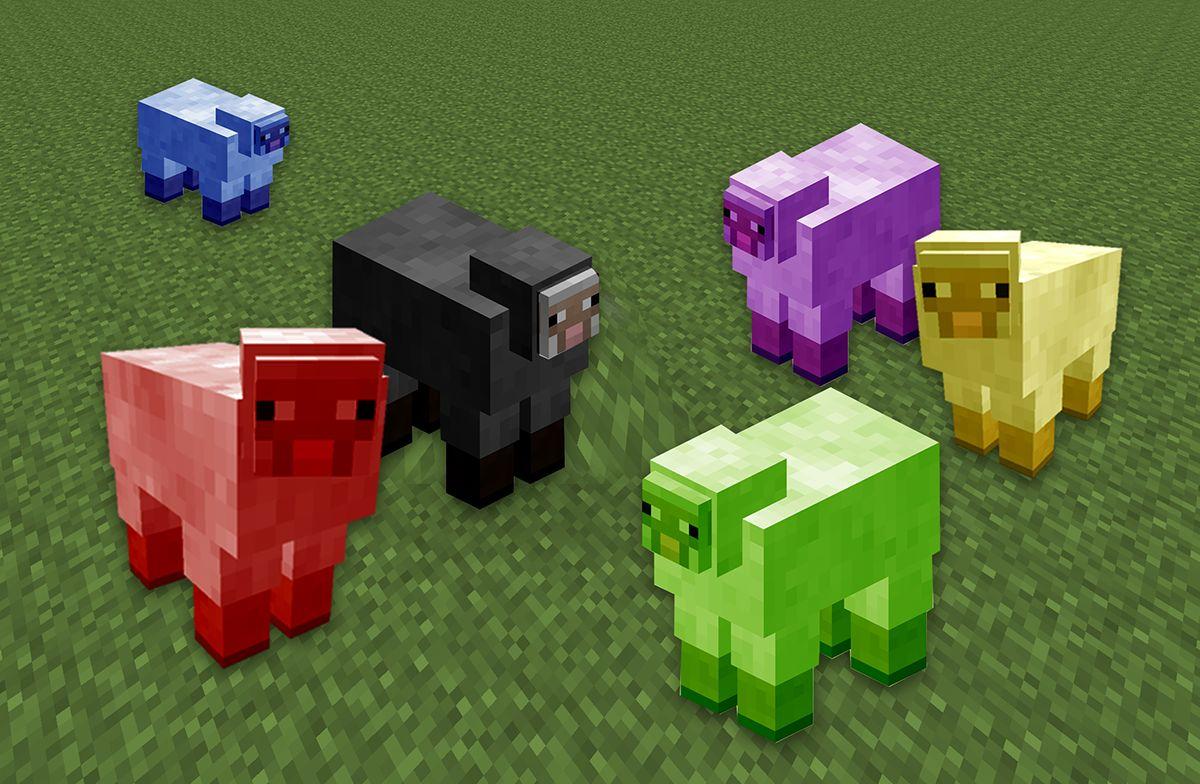Schafe in Farben der größeren Parteien