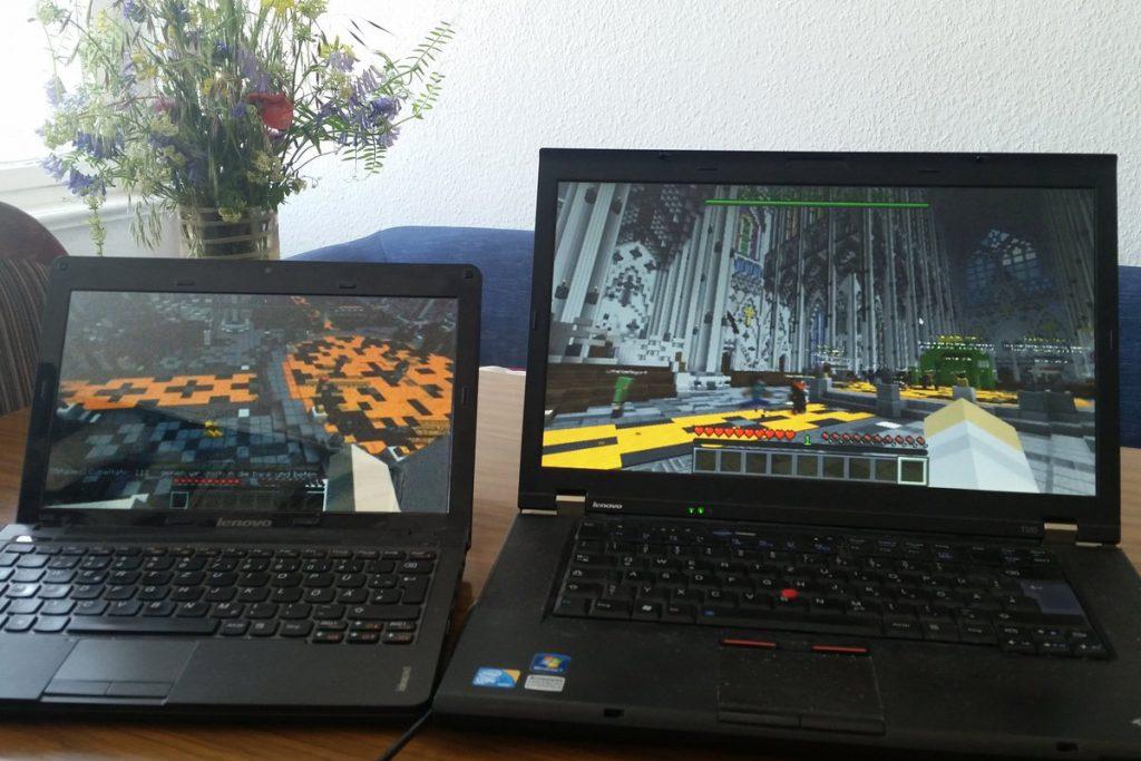 Laptops mit Minecraft/Minetest