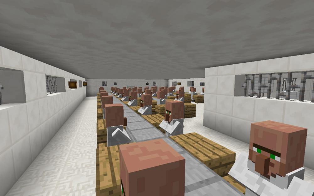 Fließbandarbeit in einer Handyfabrik in China in Minecraft - Screenshot aus dem Projekt MineHandy
