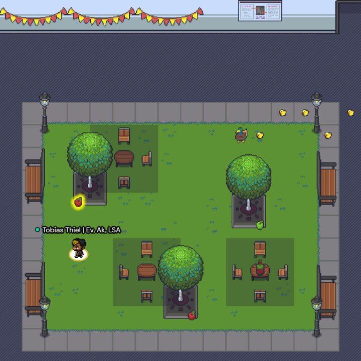 Wintergarten des virtuellen Barcamp-Gebäudes in GatherTown